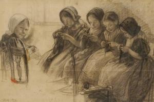 Wally Moes, Breischool te Huizen, ca. 1891. uit de collectie van het Singer Museum te Laren.