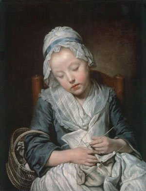 young knitter asleep
